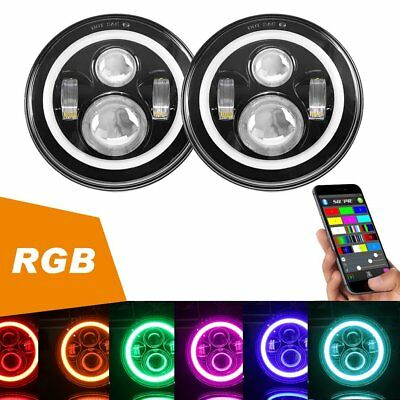 "2X 7"" LED Headlights Ring Halo Angel Eye Bluetooth For Jeep Wrangler JK TJ 97-18"