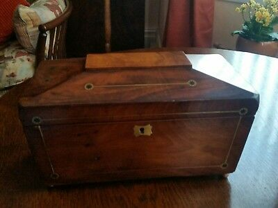 Beautiful Old Wooden Tea Caddy With Brass Inlay.
