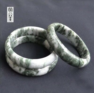 Vintage Chinese Natural Jade Stone Green Jadeite Bracelet Bangle 2.40-2.48 inch