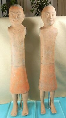 Rare Pair Chinese Han Dynasty Hand Painted Statues Figures Terracotta  C100 BC