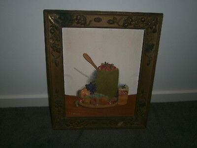 Vintage / Antique Oil Painting on Canvas of Fruit in Old Frame