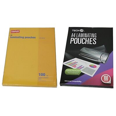 2x Packs of A4 Laminating Pouches 216x303mm 80 Micron 100 sheets each pack