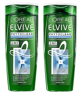2x L Oreal Elvive Phytoclear Anti-Dandruff Conditioning Shampoo 2in1 250ml 0405a983d847