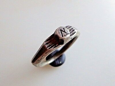 Late Roman to Byzantine Silver Ring with Monogram,circa 4th-6th century AD.
