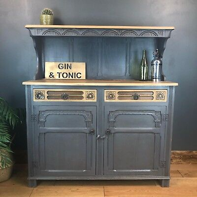 Vintage Court Cupboard Buffet Welsh Dresser Painted Sideboard Rustic