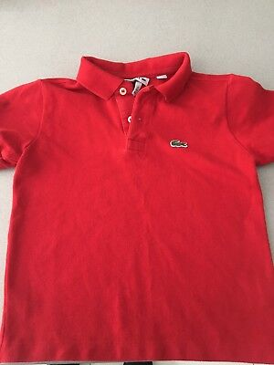 Boys Red Genuine Lacoste T Shirt Age 5 Years