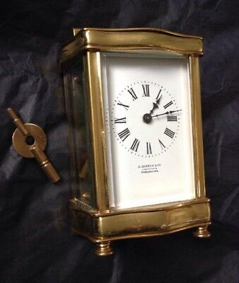 Vintage French Brass Carriage Clock - Retailed by J Boseck Darjeeling India