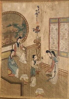 antique chinese Hand Painted On fabric Gwanyin Kwan Yin Figures China Painting