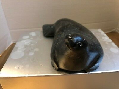 Hand Crafted Soapstone, older carving of a seal,  Made in Canada