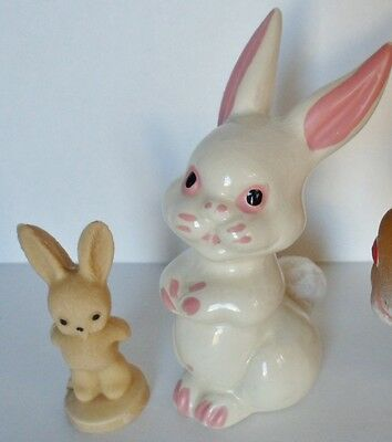 Vintage Bunnies Rabbits Porcelain & Stone Easter Cottontail Figurines Lot of 2