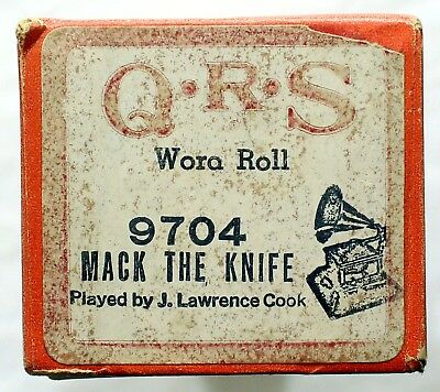 """J. LAWRENCE COOK """"Mack The Knife"""" QRS 9704 [PIANO ROLL]"""