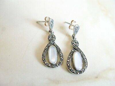 Vintage 925 Sterling Silver Marcasite Moonstone Art Deco Earrings
