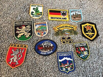 Vtg Embroidered Patch LOT Germany Sierra Nevada Praha Switzerland Ghost Town
