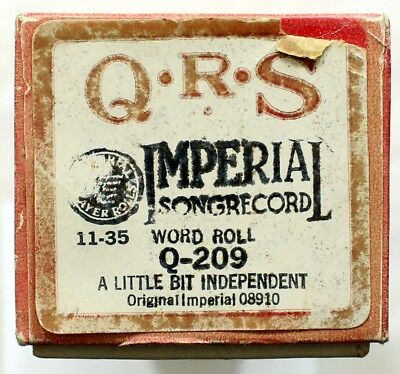 """ANONYMOUS ARTIST """"A Little Bit Independent"""" QRS Q-209 [PIANO ROLL]"""