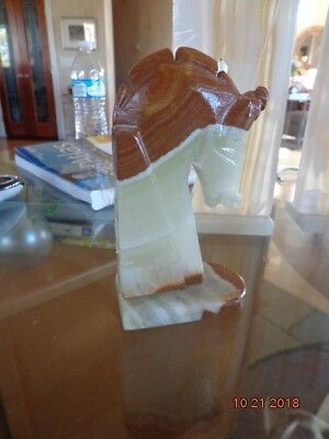 Vintage Natural Onyx Stone Horse Head Statute Carved Figure 6 inch
