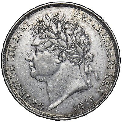 1822 Tertio Crown - George Iv British Silver Coin - V Nice