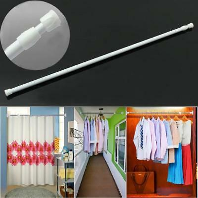 White Spring Loaded Extendable Telescopic Net Voile Tension Curtain Rail Pole N7