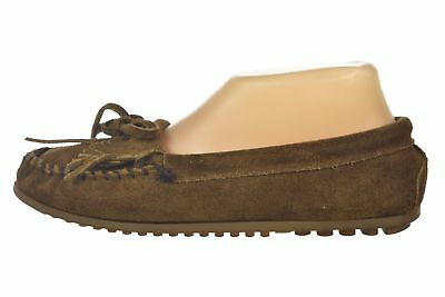 Minnetonka Shoes Size 7.5 Brown Solid Suede Leather Flat Slip On Moccasins