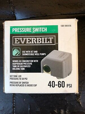 Everbilt 40/60 Pressure Switch Water Submersible Well Jet Pump 60 PSI Accessory