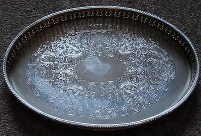 Vintage Small Oval Silver Plate on Copper Galleried Tray. Made in England