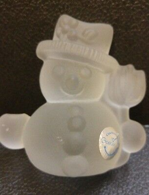 Vintage Goebel Crystal Frosted Glass Snowman Candle Holder 160148