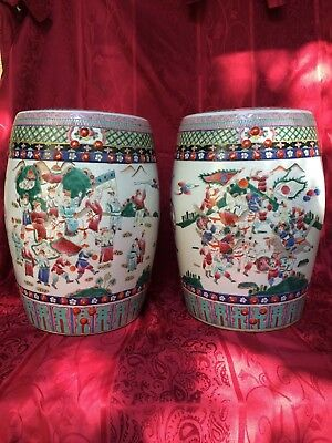 IMPORTANT IMPERIAL CHINESE FAMILLE ROSE VERTE VASE GARDEN SEATS 19th century