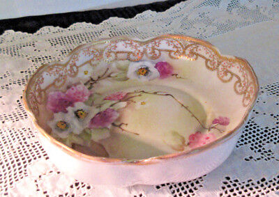 Antique Nippon Hand Painted, Candy/Trinket Dish, Gold Beaded Trim Floral Marked