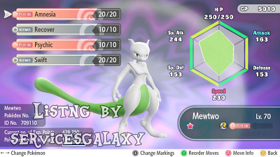Pokemon Let's Go - 6iv Shiny Mewtwo/Mew/Meltan - Lets go Any legendary