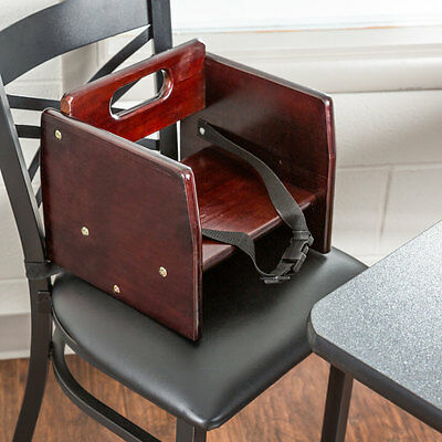 Brown Wood Child Restaurant Booster Seat Chair with Mahogany Finish