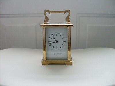 Brass 8-Day Timepiece Carriage Clock with Winding Key / Wm WIDDOP Est 1883.