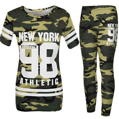 Girls Childrens New Khaki Camouflage Print Top Legging Set Age 7 8 9 10 11 12 13