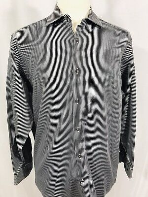 BEN SHERMAN Mens Long Sleeve Button Front Shirt Size LARGE 16 Blue Gray Check