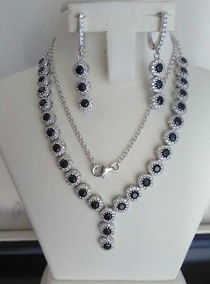AAA Quality - 925 Sterling Silver Jewelry Black Onyx & White Cz Ladies Set
