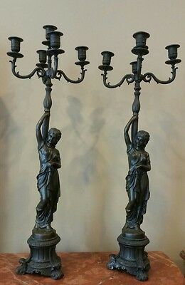 Fine Pair Of Antique Cast Bronze Figural Maidens 5 Arm Candelabra Statues