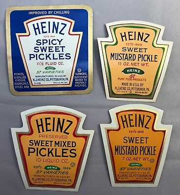 4 1930s HEINZ Spicy Sweet Mustard PICKLES Mixed Advertising Labels Vintage