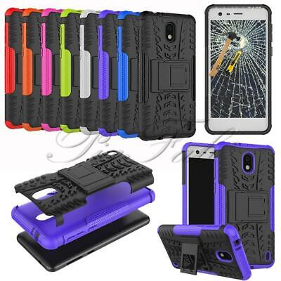 For Nokia 3.1 / Nokia 3 2018 Black Shock Proof Phone Case Cover + Tempered Glass