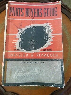 Parts Buyers Guide Chrysler & Plymouth 1938 Chrysler Corp Marysville Michigan