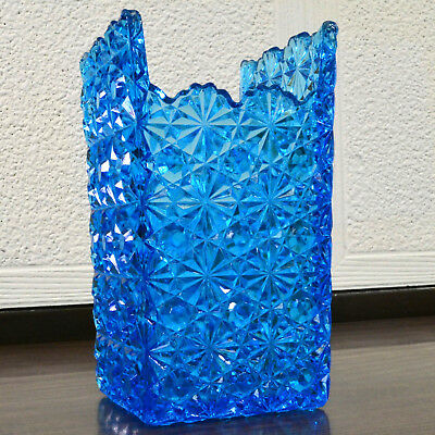 Antique Daisy And Button Glass Vase - Square, Blue, EAPG Vase, Pressed Glass