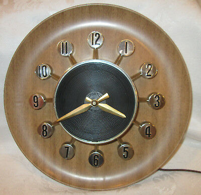 Vintage 1950's MCM ATOMIC SPARTUS Electric Wall Clock Model No. 505