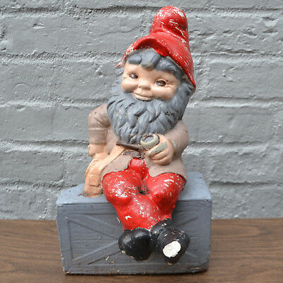 Vintage Antique Garden Gnome - Outdoor Statuary - Concrete Mold