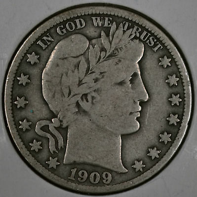 One (1) 1909 50C Barber Half Dollar - Fine (Chosen at Random)