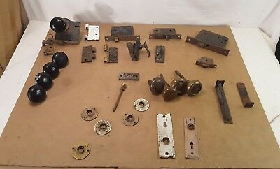 LOT OF VINTAGE Door Knobs Hinges Locks Latches and Other Parts