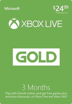 Xbox Live 3 Month Gold Membership Microsoft for Xbox One / Xbox 360 NEW