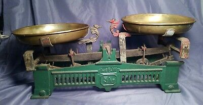 Antique Large Cast Iron French Scale with Brass Pans Makers Mark