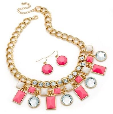 Pink and Crystal Statement Necklace and Earring Set SALE