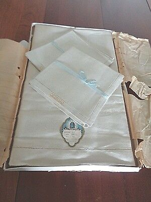 Antique Linen Damask tablecloth and 8 matching napkins very High End NEW