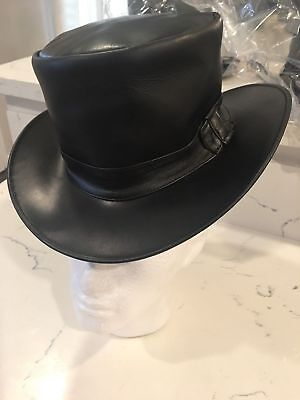 f8a57cfb9ee Top Hat Black Genuine Leather Deadman Steampunk With Leather Band All  Around  1