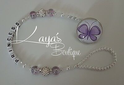 *Lilac Butterfly* Bling Purple/White Shamballa Romany Dummy Clip Girl *Any Name*