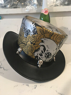 92642aa8d9d Genuine Leather Steampunk Top Hat With Skulls Deadman Top Hat Msrp  139.99