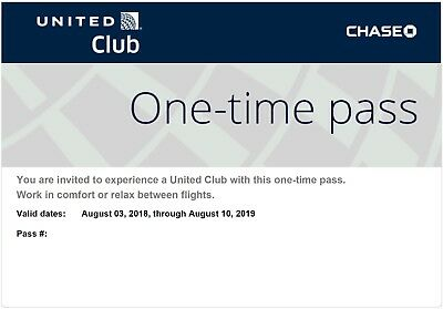 Two United Club One-Time Passes Valid Through August 10, 2019